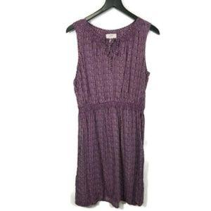 Loft Factory Purple and White Sleeveless Dress M